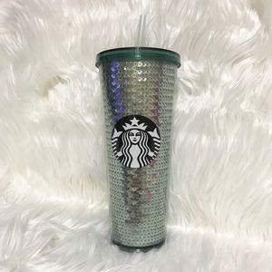 NEW Starbucks Green Sequin 24oz Tumbler RARE!